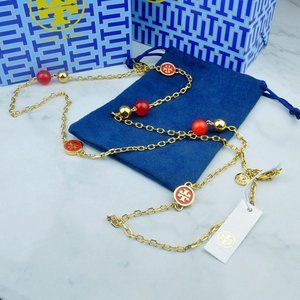 Tory Burch Red Multi Pendant Necklace